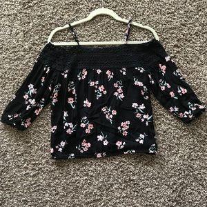 Cato XS off shoulder floral black blouse